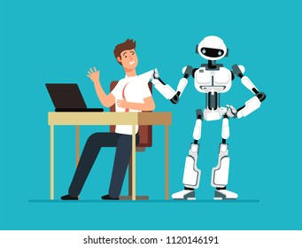 Robot employee kicks away human worker from workplace. Artificial intelligence, man replacement, future jobless vector concept. Machine control, cyborg better human illustration