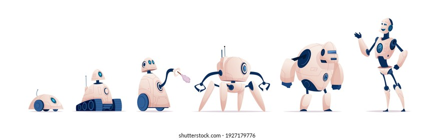 Robot evolution. Smart industry cyborg systems civil or military androids and humanoids from steel exact vector cartoon robots characters