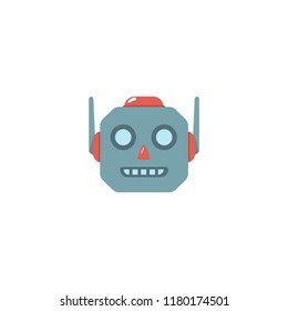 Robot face vector flat illustration