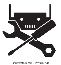 robot fix and repair service icon