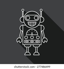 robot flat icon with long shadow, line icon