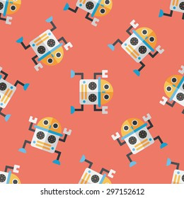 robot flat icon,eps10 seamless pattern background