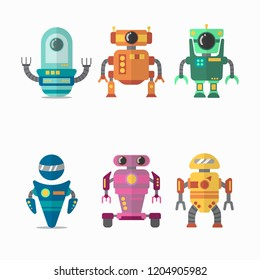 Robot flat icons set. Web vector sign kit of toy. Character pictogram collection includes transformer, cyborg, machine. Simple robot colorful icon symbol on white background