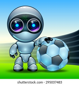robot with a football in the arena of the stadium