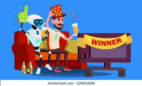 Robot Football Fan. Hat, Beer, Tv Screen With Friend Vector. RPA Robotic Progress. Isolated Illustration