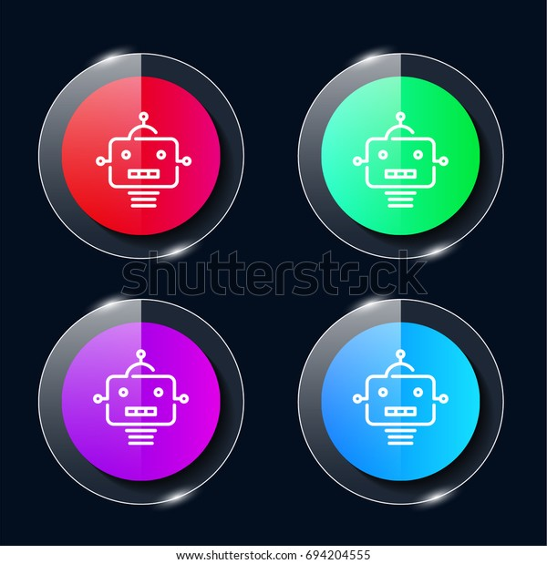 Robot Four Color Glass Button Ui Stock Vector (Royalty Free