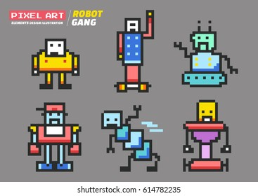 Robot Gang Pixel Art , Elements Design Illustration and icon
