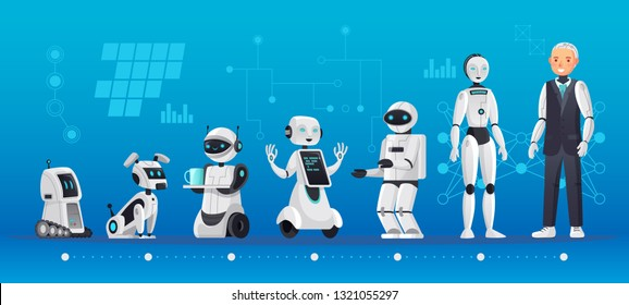 Robot generations. Robotics engineering evolution, robots ai technology and humanoid computer generation. Engineer robotic artificial Intelligence companion cartoon vector illustration
