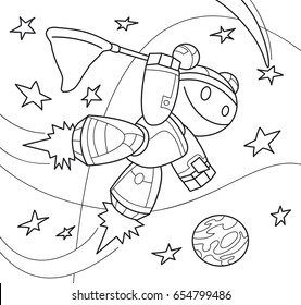 Robot girl with a net in space. Coloring book. Cartoon vector illustration