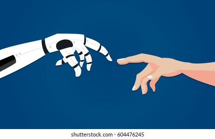 Robot gives hand to human. Artificial intelligence concept in flat design. Vector illustration