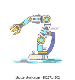 Robot hand factory Thin Line. Industrial machine robotic arm.