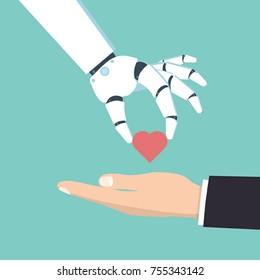 Robot hand give man a heart. Vector illustration.