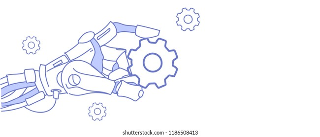 robot hand holding cog wheel virtual assistance repair support concept artificial intelligence sketch doodle horizontal vector illustration