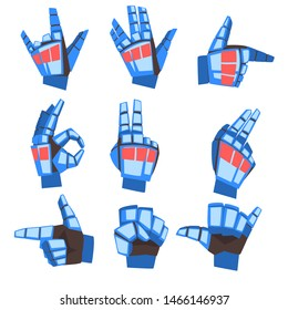 Robot Hand Showing Various Gestures Set, Mechanical Palm Gesturing, Artificial Intelligence Vector Illustration