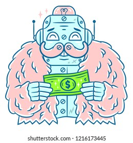 Robot. Hand-drawn Robot. Robot and Dollar. Cartoon Robot with Pink fur coat on white background isolated. Stock Vector Illustration. Cartoon style.