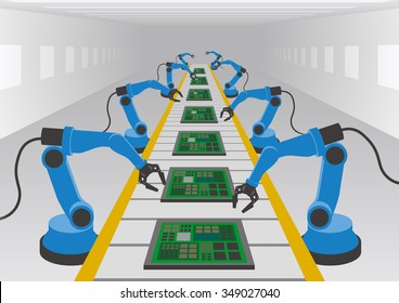 robot hands and conveyor belt, Factory automation, Industry 4.0, Internet of Things, vector illustration
