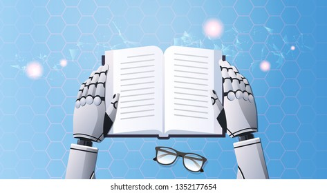 robot hands holding note book humanoid reading text top angle view artificial intelligence digital futuristic technology concept horizontal
