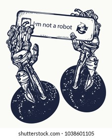 Robot hands tattoo and t-shirt design. Symbol of artificial intelligence, neural network , robot vs human