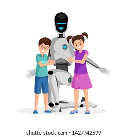 Robot with happy children flat vector illustration. Little boy and girl with artificial babysitter cartoon characters. Futuristic babysitting, childcare service innovation, family friendly technology