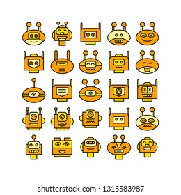 robot head avatar icons set, yellow theme