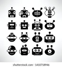 robot head avatar icons set