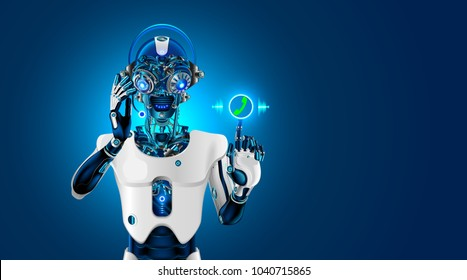 Robot head with headset. Robot receives the call. The Bot talk with customer on phone or chat. Web sait assistant. Automatic call center. Futuristic concept.