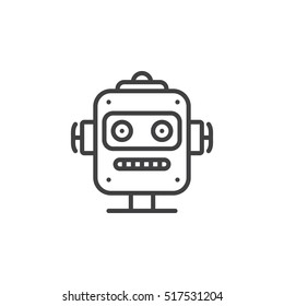 Robot head line icon, outline vector sign, linear pictogram isolated on white. logo illustration