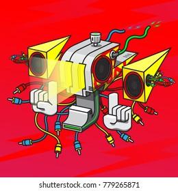 robot head spray thunder character cartoon spray thunder speaker head electric