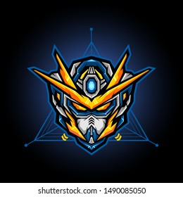 robot head vector for e sports logo or gaming mascot, robot head for t shirt printing, apparel or badge
