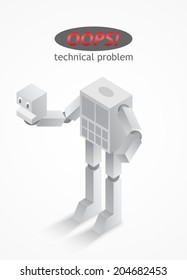 robot headless vector illustration / oops technical problems on the site