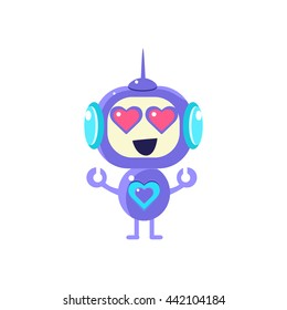 Robot With Hearts In The Eyes Flat Childish Cartoon Style Vector Drawing Isolated On White Background