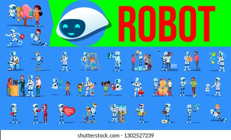 Robot Helper Set Vector. Future Lifestyle Situations. Working, Communicating Together. Cyborg, RPA Robotic Progress.   Artificial Intelligence. Web Design. Robotic Technology Illustration