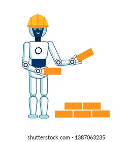 Robot Helps in Building House Flat Illustration. Cyber Bricklayer Hard Hat, Safety Helmet Isolated Character. Humanoid Facilitating in Physical Labor. Computerized Construction Worker