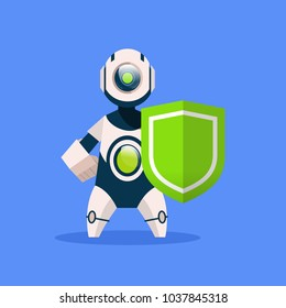 Robot Hold Shield Isolated On Blue Background Concept Modern Artificial Intelligence Protection Technology Flat Vector Illustration