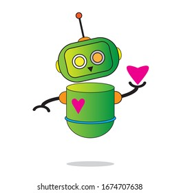 the robot is holding a heart symbol, which symbolizes affection