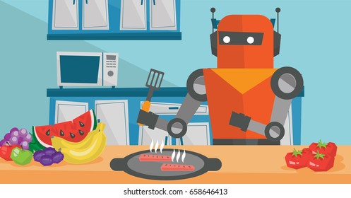 Robot housewife preparing breakfast at kitchen. Pobot housewife eating fried egg at kitchen. Robot housewife holding kitchen spatula and cooking egg. Vector flat design illustration. Horizontal layout