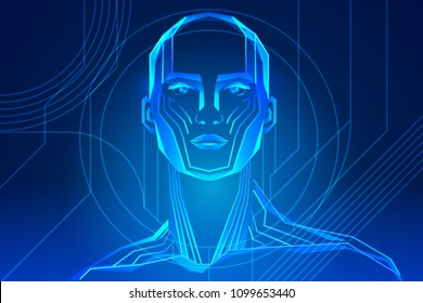 robot or human body enhancement. Artificial intelligence with face in abstract world. Vector illustration