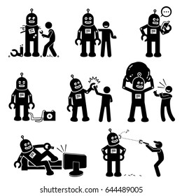 Robot and Human. Cliparts depicts a man created a robot. The robot becomes his friend, learning new things, and helps the human to do work.