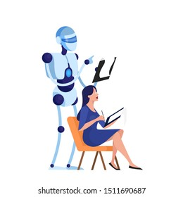 Robot and human psychologist. Cyborg character holding clipboard. Mental health treatment. Isolated flat vector illustration