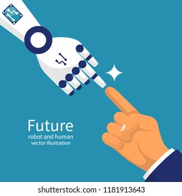Robot and human together. Person and robot connect, touching fingers. Futuristic technology. Vector illustration flat design. Isolated on background. Cooperation with artificial intelligence.