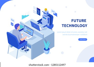 Robot and human working in office. Can use for web banner, infographics, hero images. Flat isometric vector illustration isolated on white background.