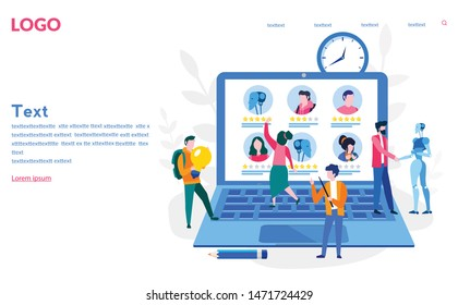 Robot human working at office, teamwork. recruitment in future. Human interactive tech interaction. Vector illustration for web banner, print, infographics, mobile website. Landing page template.