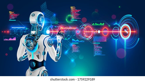 Robot or humanoid cyborg working with abstract tech hologram interface. Futuristic AI in industry 4.0 develops industrial virtual drawings details. Humanoid android back view looking on screen.