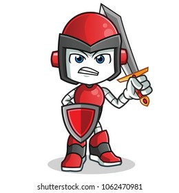 robot humanoid warior holding sword and shield mascot vector cartoon illustration