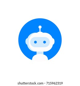 Robot icon. Bot sign design. Chatbot symbol concept. Voice support service bot. Online support bot. Modern flat style cartoon character illustration. Isolated on white background