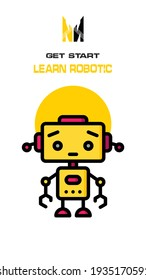 Robot icon on white and yellow background