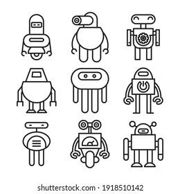 robot icon set line vector illustration
