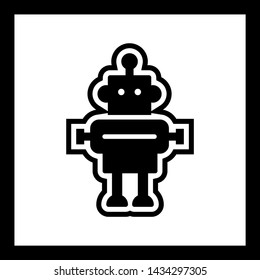 Robot Icon In Trendy Style Isolated Background