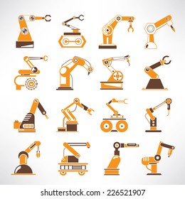 robot icons, robotic arm icons,industrial robot in manufacturing process icons, orange color theme