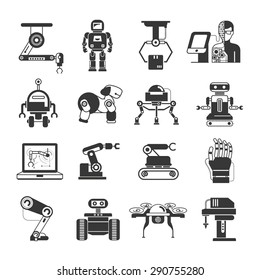 robot icons set, artificial intelligence icons